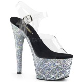 Prata 18 cm ADORE-708MSLG brilho plataforma sandálias mulher