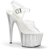 Prata 18 cm ADORE-708VLRS Plataforma sapatos de salto com strass