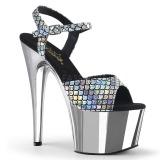 Prata 18 cm ADORE-709MSC Holograma plataforma salto alto mulher