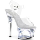 Prata 18 cm MOON-708GFT brilho plataforma sandálias mulher