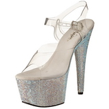 Prata 18 cm Pleaser BEJEWELED-708DM Strass Plataforma Saltos Altos