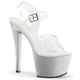 Prata 18 cm Pleaser SKY-308MG sapatos de salto alto brilho