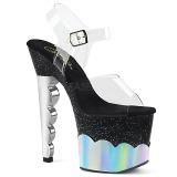 Prata 18 cm SCALLOP-708-2HGM Holograma plataforma salto alto mulher
