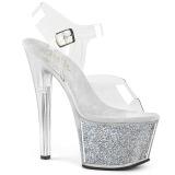 Prata 18 cm SKY-308G-T brilho plataforma sandálias mulher