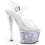 Prata 18 cm SKY-308GF brilho plataforma sandálias mulher