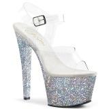 Prata 18 cm SKY-308LG brilho plataforma salto alto mulher