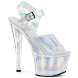Prata 18 cm SKY-308N-CRHM Holograma plataforma salto alto mulher