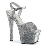 Prata 18 cm SKY 309RS Plataforma sapatos de salto com strass