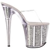 Prata 20 cm FLAMINGO-801G brilho plataforma tamancos mulher