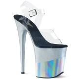 Prata 20 cm FLAMINGO-808-2HGM brilho plataforma sandálias mulher