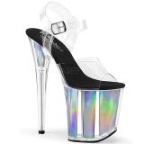 Prata 20 cm FLAMINGO-808HGI Holograma plataforma salto alto mulher