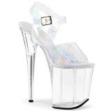 Prata 20 cm FLAMINGO-808N-CK Holograma plataforma salto alto mulher