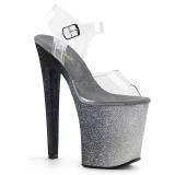 Prata 20 cm XTREME-808OMBRE brilho plataforma salto alto mulher