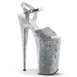 Prata 25,5 cm BEYOND-010LG brilho plataforma salto alto mulher