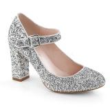 Prata 9 cm SABRINA-07 sapatos scarpin com salto grosso