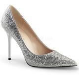 Prata Brilho 10 cm CLASSIQUE-20 Sapatos Scarpin Salto Agulha