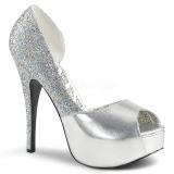 Prata Brilho 14,5 cm Burlesque TEEZE-41W scarpin pés largos para homem