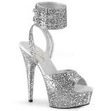 Prata Brilho 15 cm DELIGHT-691LG sandálias de tiras no tornozelo