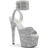 Prata Brilho 18 cm ADORE-791LG sandálias de tiras no tornozelo