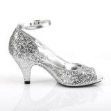 Prata Brilho 7,5 cm BELLE-381G sapatos scarpin aberto na frente