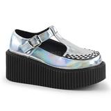 Prata CREEPER-214 sapatos creepers de mulher rockabilly