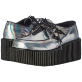 Prata CREEPER-218 sapatos creepers de mulher rockabilly