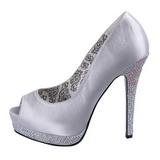Prata Cetim 13,5 cm BELLA-12R Pedra Cristal Plataforma Scarpin Calçados