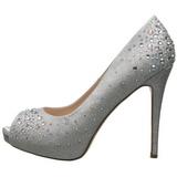Prata Cetim 13 cm HEIRESS-22R Pedra Cristal Plataforma Scarpin Calçados