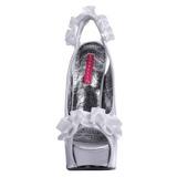 Prata Cetim 14,5 cm Burlesque TEEZE-56 Sandálias Salto Agulha