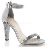 Prata Cristal 11,5 cm CLEARLY-436 sandálias para noite de gala
