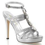 Prata Cristal 12 cm LUMINA-22 sandálias para noite de gala