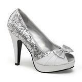 Prata Glitter 12 cm BETTIE-10 Platform Scarpin Sapatos