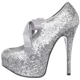 Prata Glitter 14,5 cm Burlesque TEEZE-10G Platform Scarpin Sapatos