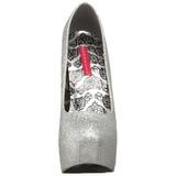 Prata Glitter 14,5 cm Burlesque TEEZE-31G Platform Scarpin Sapatos