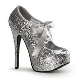 Prata Glitter 14,5 cm TEEZE-10G Platform Scarpin Sapatos