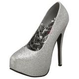 Prata Glitter 14,5 cm TEEZE-31G Platform Scarpin Sapatos