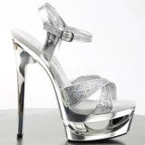 Prata Glitter 16,5 cm Pleaser ECLIPSE-619G Stiletto Salto Agulha