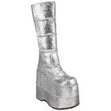 Prata Glitter 18 cm STACK-301G botas demonia - botas de cyberpunk unisex