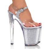 Prata Glitter 20 cm XTREME-808G Plateau Sapatos Salto Alto
