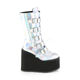 Prata Holograma 14 cm SWING-230 botas cyberpunk plataforma