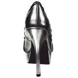 Prata Imitação Couro 13,5 cm PIXIE-18 Goticas Sapatos Scarpin