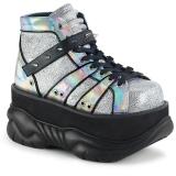 Prata Imitação Couro 7,5 cm NEPTUNE-100 Goticas Sapatos Homem Plataforma