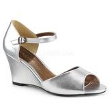 Prata Imitação couro 7,5 cm KIMBERLY-05 numeros grandes sandálias mulher