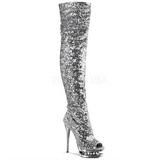 Prata Lantejoulas 15 cm PLEASER BLONDIE-R-3011 bota plataforma acima do joelho
