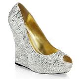 Prata Pedra Cristal 13,5 cm ISABELLE-18 Sapato Scarpin Cunha Alto