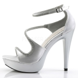 Prata Pedra Cristal 13 cm COCKTAIL-526 Sapatos Salto Alto