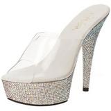 Prata Pedra Cristal 15,5 cm BEJEWELED-601DM Plataforma Tamancos Sapatos