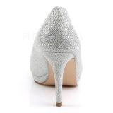 Prata Pedras Cristal 9 cm COVET-02 sapato scarpin para noite de festa