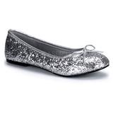 Prata STAR-16G brilho sapatas da bailarina mulher baixos altos
