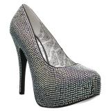 Prata Strass 14,5 cm Burlesque TEEZE-06RW scarpin pés largos para homem